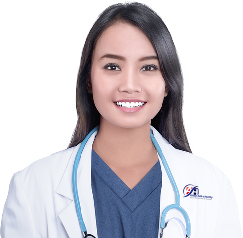 female doctor with white lab coat and long dark hair